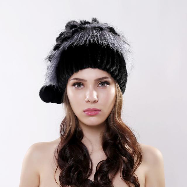 Tampas de inverno mulheres chapéu de pele de malha de peles de vison com pele de raposa Rex pele de coelho borlas flores gorros de moda de nova mulheres causais chapéus