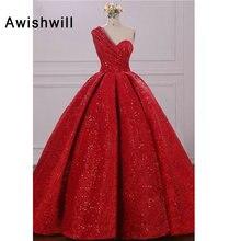 Трендовое бальное платье, платье для выпускного вечера на одно плечо, длина до пола, красное вечернее платье с блестками, праздничные арабские вечерние платья размера плюс