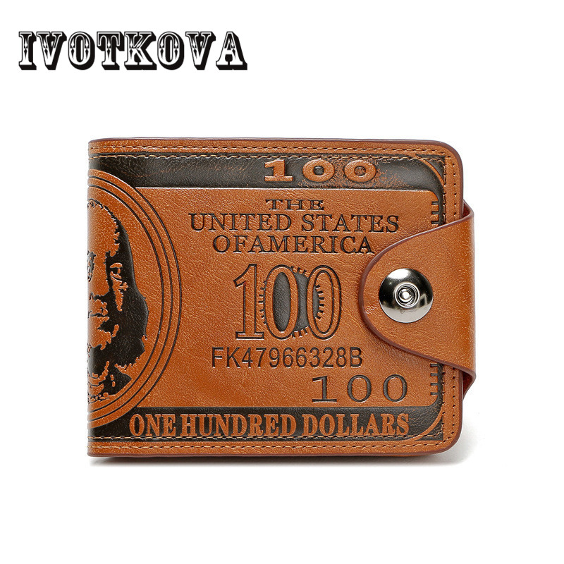 IVOTKOVA New Fashion Dollar Bill Wallet Leather Card Holder Wallet Handbag Coffee Purse Men's Money Bag pocket monster pokemon wallet teenager boy girl kawaii pikachu poke ball wallet naruto student dollar bag card holder purse 12