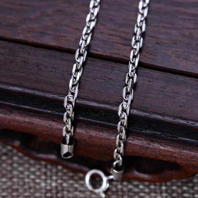 Real 925 Sterling Silver 3mm Rectangle Link Chain Necklace 18 20 22 24 26 Fine Jewelry