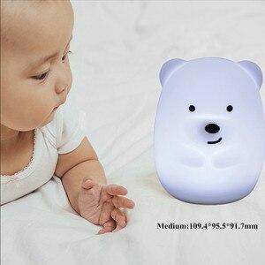 Image 5 - Bär Hund Fuchs Affe LED Nachtlicht Touch Sensor 9 Farben Cartoon Silikon Tier Lampe Nacht Lampe für Kinder Kinder baby Geschenk
