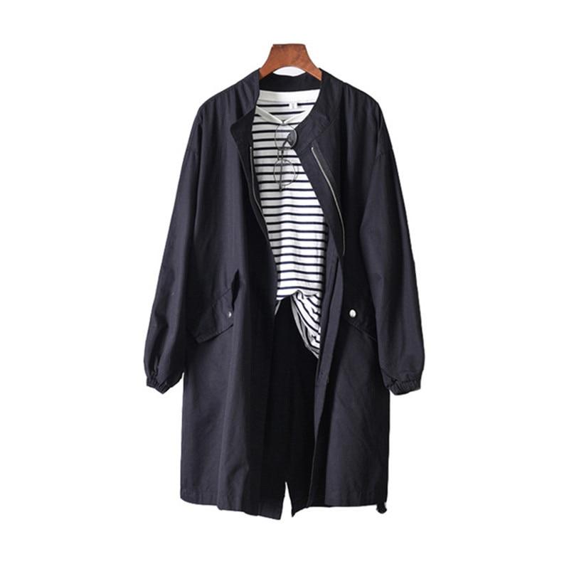 Women   Trench   Coat Long Outwear Spring Autumn Clothing Business Windproof Coat Loose Large Size Windbreaker Female Overcoat AA663