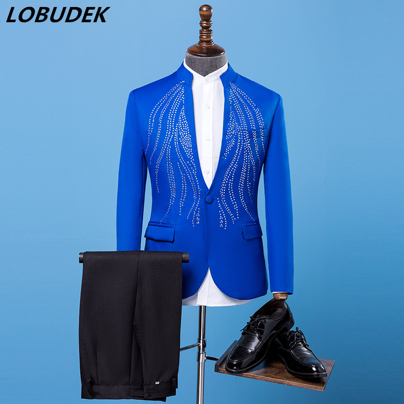 Male slim Suits Adult Costumes Blue Bright Crystals Blazers Trousers suit singer Chorus Wedding stage outfit Host Master costume