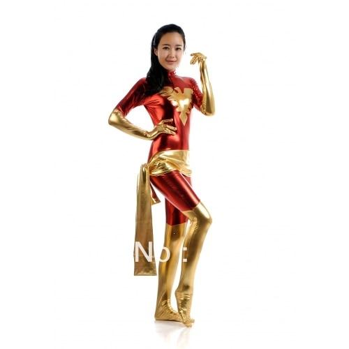 Red & Yellow X-men Dark Phoenix Woman Warrior Metal Superhero Costume Halloween Costumes