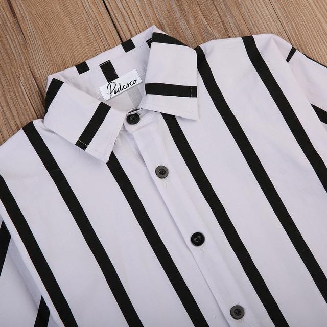 Black & White, Striped Casual Long Sleeved Button-Up Shirt Dress 1