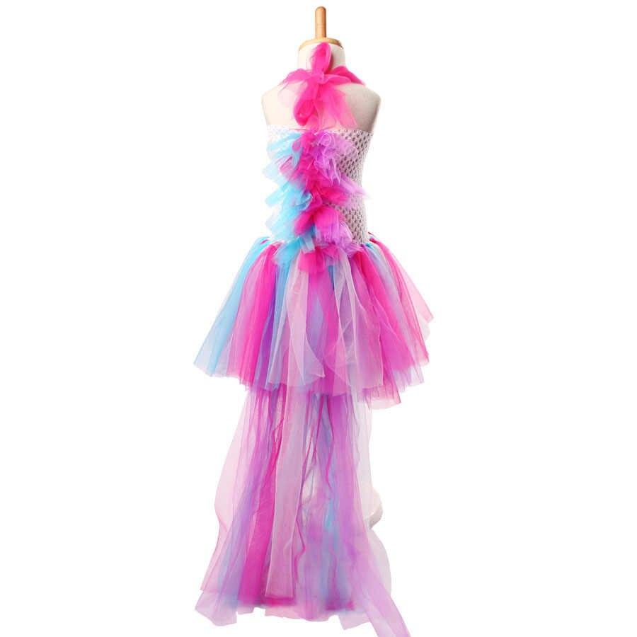d116f005cf82 ... Unicorn Bustle Tutu Dress Girls Birthday Party Dress Up Costume Colorful  Pony Mane Girl Dress with ...
