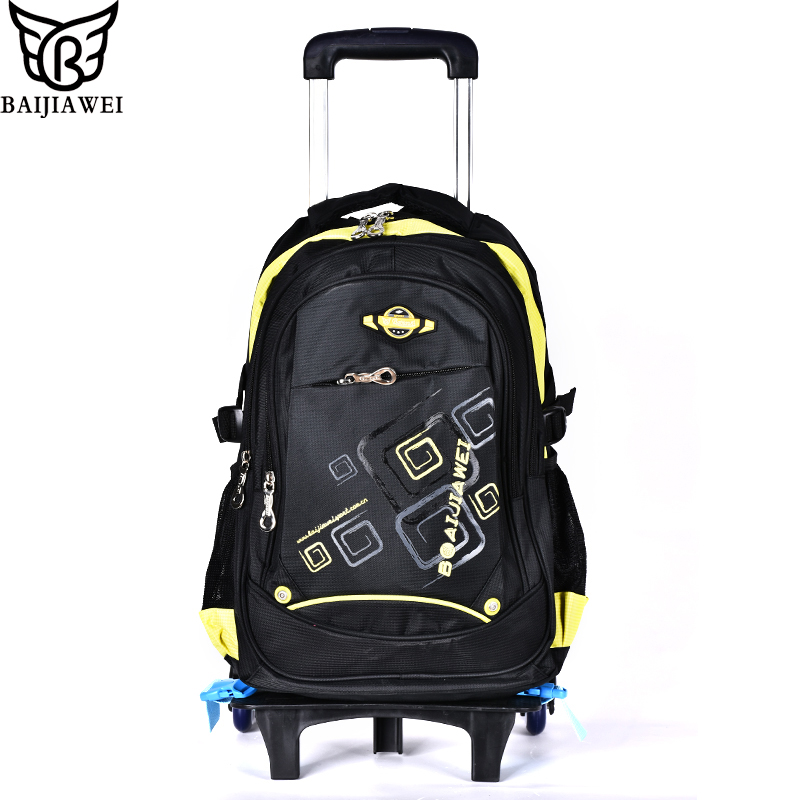 BAIJIAWEI New Removable Trolley Backpack Children School Bags with 6 Wheels for Girls Kids Wheeled Bag