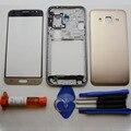 Дело жилья Для Samsung Galaxy J3 (2015) ближний Рамка рамка (одиночная карта) и крышка батарейного Отсека Задняя Крышка и передняя внешний стекло и УФ клея