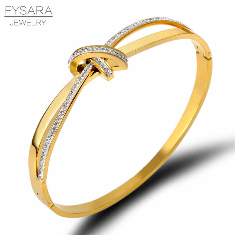 FYSARA Romantic Intersect Knot Zircon Crystals Bracelet Femme Titanium Steel Lover Bangles Gold Jewelry Custom Logo