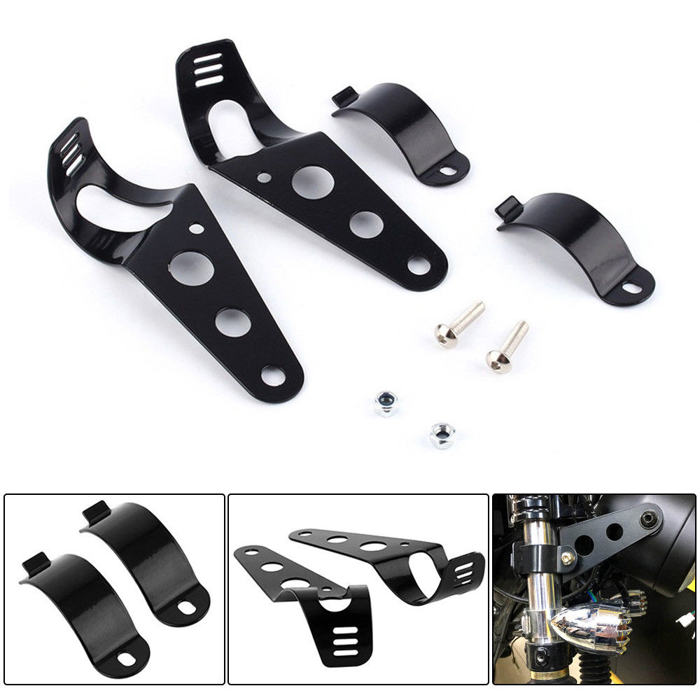 Black Metal Motorcycle Headlight Mount Bracket Head Lamp Holder For 34mm-50mm Fork Tubes Universal Fit To Most Motorbikes