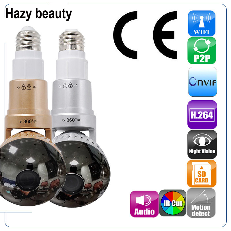 Hazy beauty HD 960P 1.3MP WiFi IP Network Bulb Mirror Camera Night Vision Motion Detect ONVIF CCTV Security Camera 433Hz Alarm wireless wifi 2mp 1080p hd ip camera with micro sd card slot onvif p2p indoor ir night vision motion detect network cctv camera