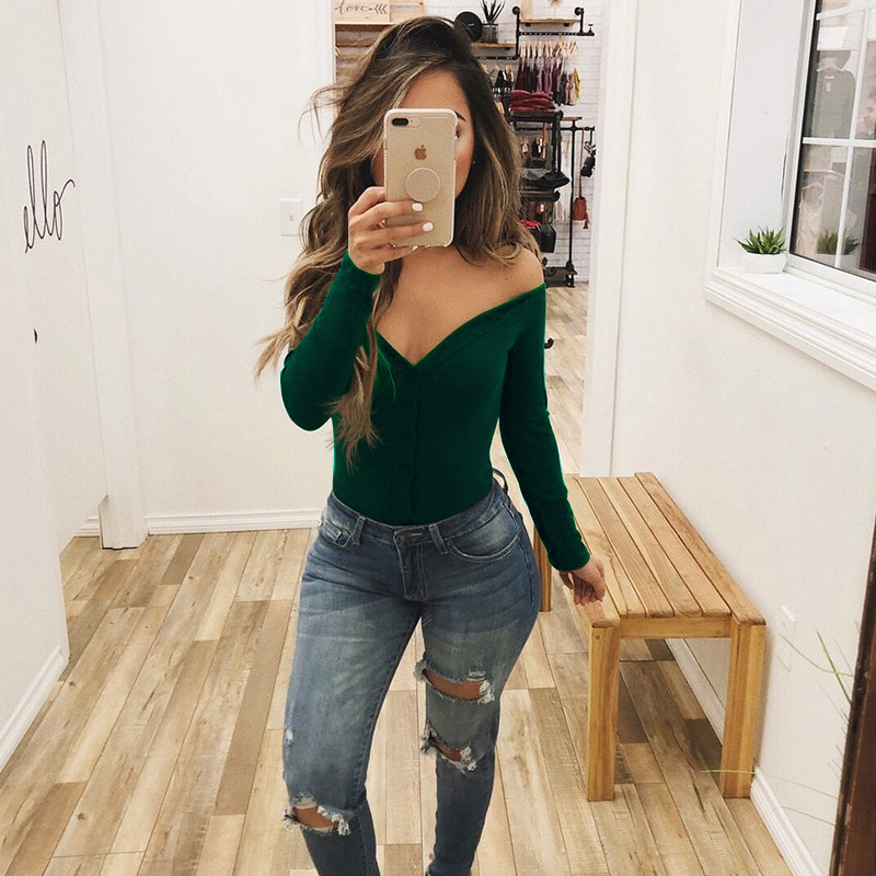 Autumn Winter Women Sexy Button Off Shoulder Strapless Skinny Womens Bodysuits V-Neck Long Sleeve Romper Bodysuit Jumpsuit 5 Co