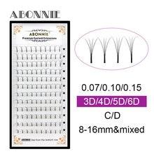 ABONNIE 12 Lines Premade Volume Fans 3d/4d/5d/6d Lash Russian Eyelash Extensions Pre made Extension Faux Mink