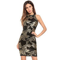 Sexy Night Club Sheath Patch work Dress Hanging Neck Sequined Mini Dress Strapless Casual Elegant Empire Halter A line Dress