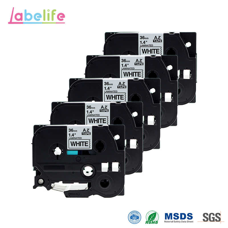 Labelife 5 Pack TZe 261 Black on White 36mm Compatible Brother P touch Laminated Label Tape