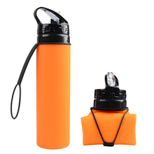 Outdoor tool EDC 610ml Silicone Folding Kettle Outdoor Sport Portable Water Bottle Multifunctional Bottle Foldable Cycling
