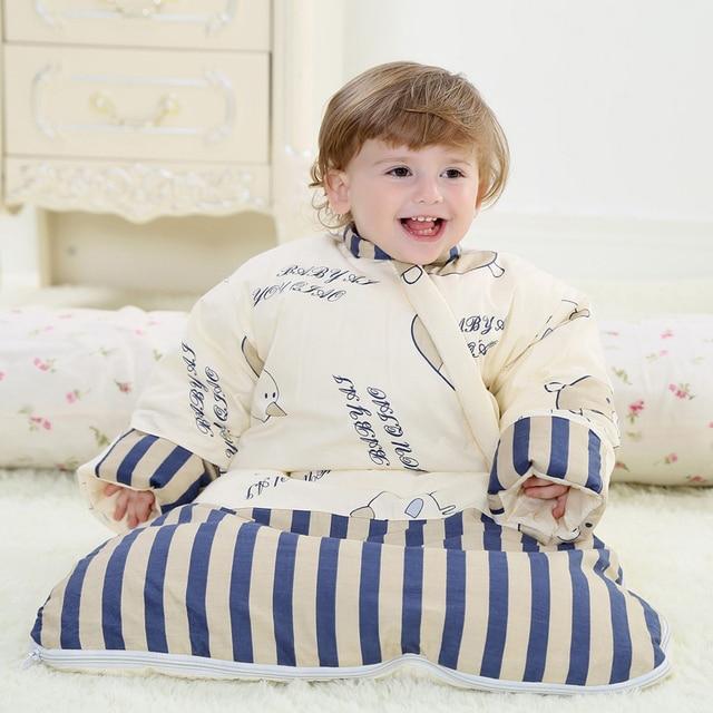 Съемный вкладыш ребенка мягкий хлопок новорожденный ребенок спальные мешки зимние ребенок толстый теплый спальный мешок младенца анти kick конверт