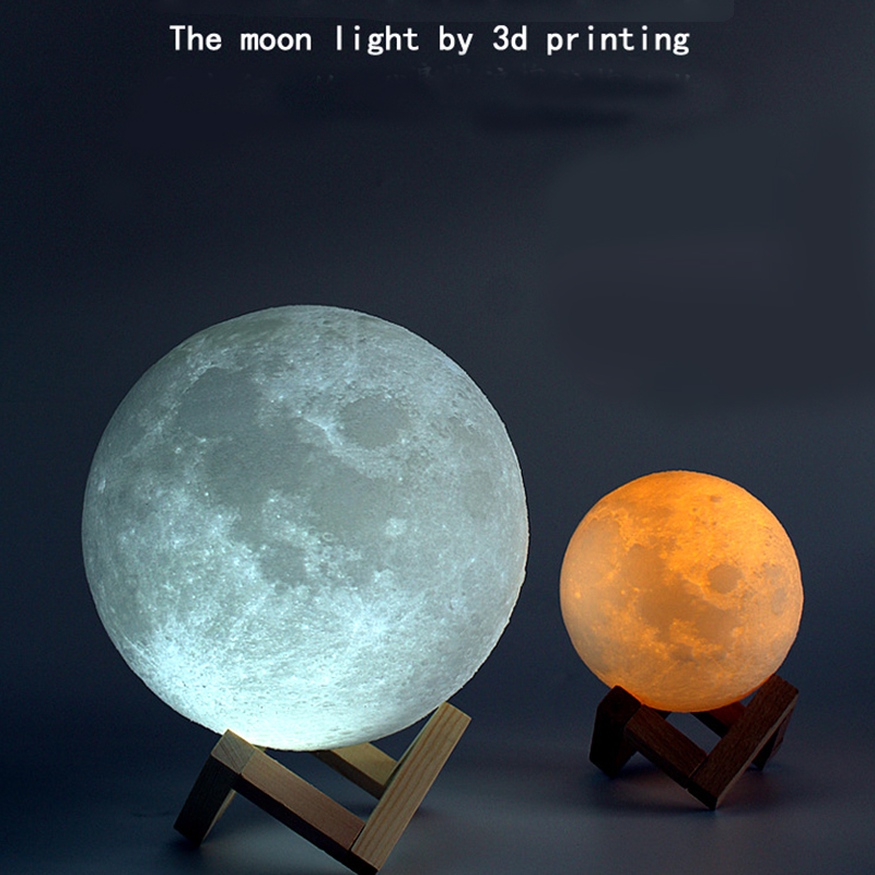 Rechargeable 3D Print Moon Lamp 2/3/7 Color Change Touch Switch Bedroom Bookcase Night Light Home Decor Creative Gift 8-20cm Dia цены онлайн