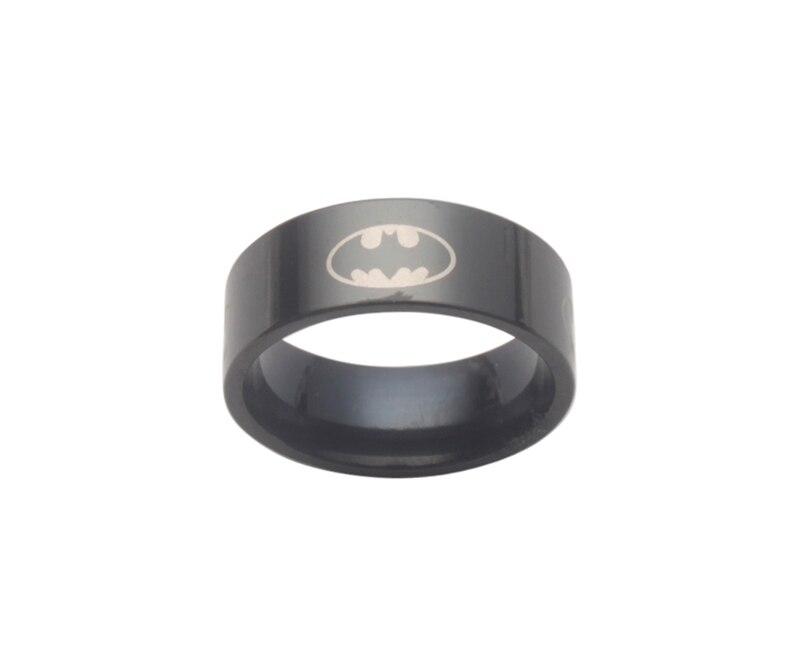 6 шт модный титановый Бэтмен из нержавеющей стали кольцо - Цвет основного камня: Black