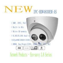 Darmowa wysyłka dahua 2016 nowy produkt ip kamera 8mp full HD Kamera Sieciowa z POE IR Eyeball IP67 Bez Logo IPC-HDW4830EM-AS