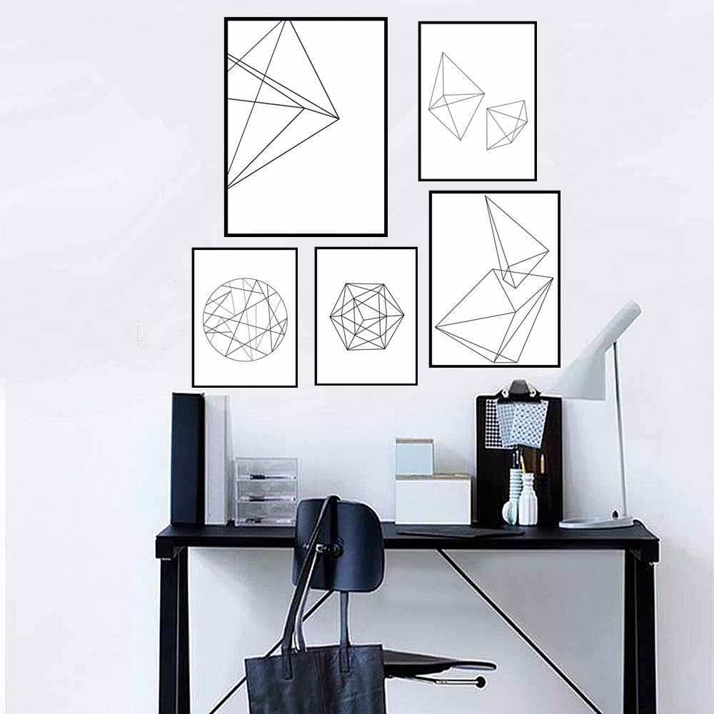 Poster design canva - Modern Nordic Minimalist Graphic Design Geometric Canvas Poster Abstract Black White Wall Picture Painting Home