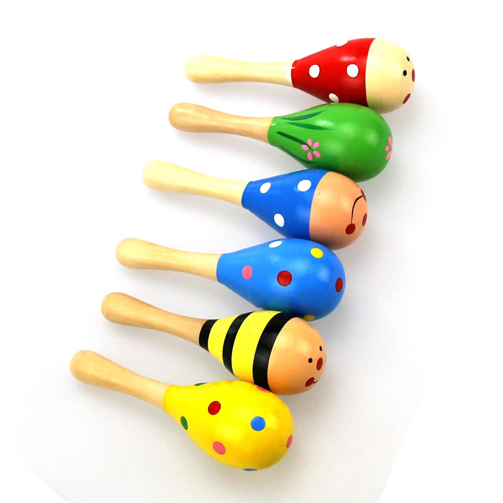 1Pcไม้Maracasเครื่องดนตรีเด็กRattles Sand Hammerไม้ของเล่นสำหรับทารกแรกเกิดเด็กเล็กของขวัญส่งแบบสุ่ม