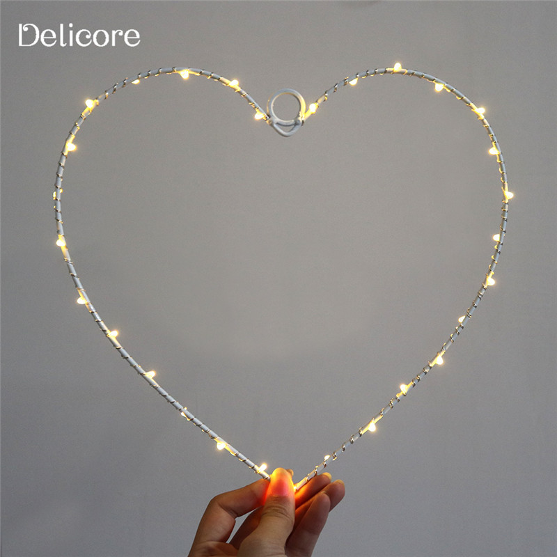 DELICORE 2017 Hot Selling Hearts Letter Lamp On Wall LED Night Light Christmas Wedding Decoration Curtain Lights S022