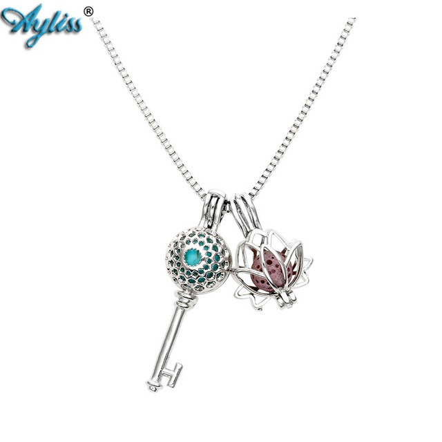 Ayliss new type aromatherapy essential oil necklace double locket ayliss new type aromatherapy essential oil necklace double locket pendant with 6 colored lava stone bead aloadofball Images