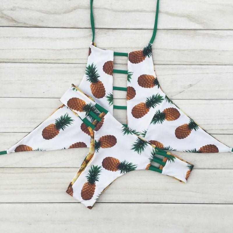 2016 Sexy Wysoka Neck Bikini Bandaż Stroje Kąpielowe Wycięty Strój Retro Halter Bikini Set Brazylijski Drukowane Plaży Latem Garnitur 20 13