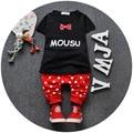 Ropa del Bebé 2016 Nuevo Verano Del Deporte Del Bebé Traje de Algodón de Diseño de Moda de Los Bebés Ropa Fijada para 10-24 mes