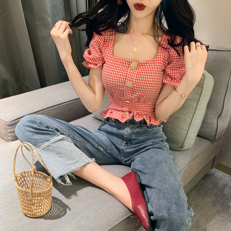 2019 Summer Vintage Plaid Blouse Women Square Collar Puff Sleeve Ladies Crop Tops Plus Size Blouses Shirts Chemisier Femme