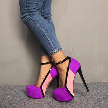 LAIGZEM FASHION Women Platform Heels Colors Blocking Pumps Evening Party Summer Autum Shoes Tacones Mujer Large Size 34-52