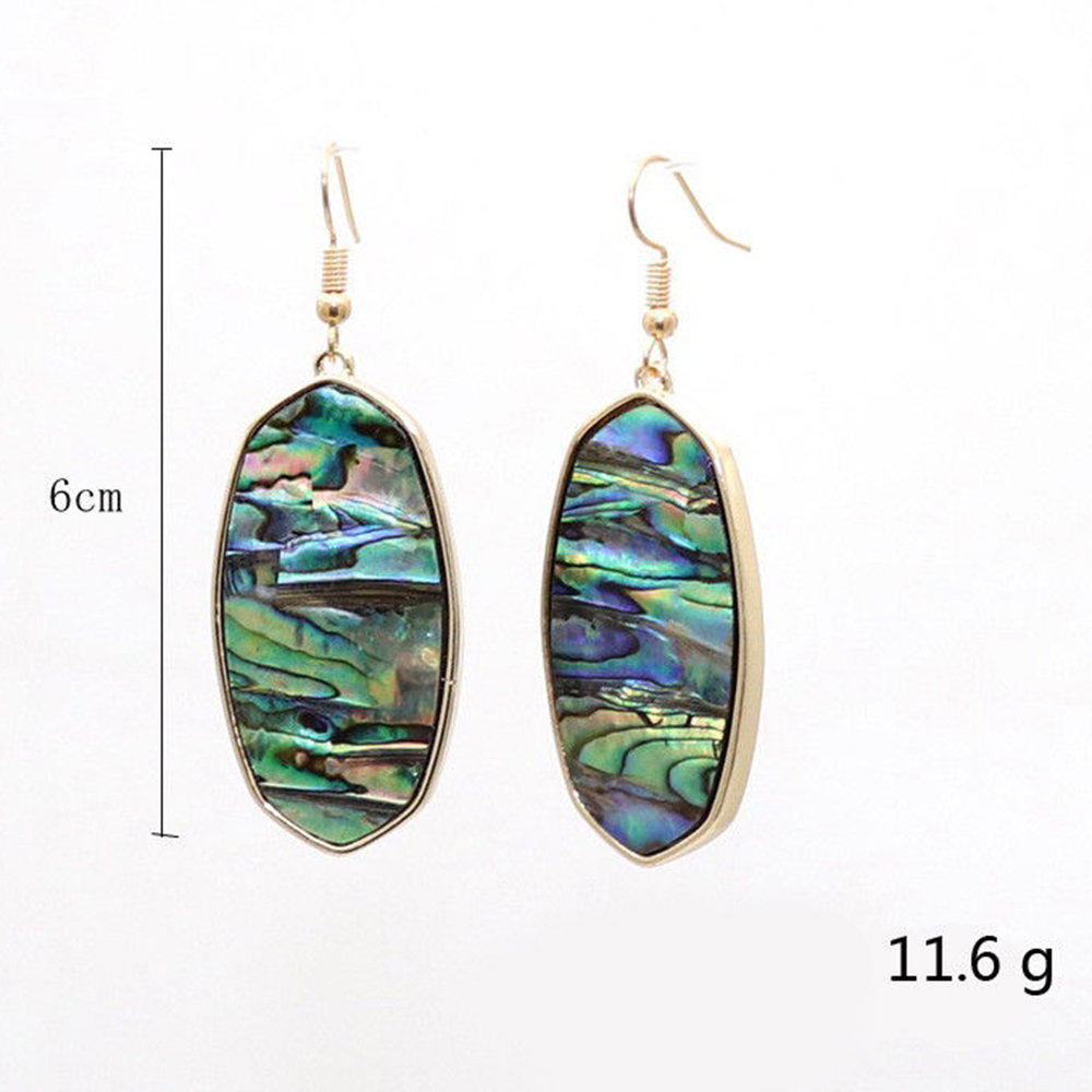 2018 Fashion Natural Stone Oval Earrings For Women Designer Inspired Abalone Large Shell Drop Earrings Jewelry Wholesale Aliexpress Com Imall Com