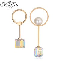 BAFFIN New Fashion Crystals Dangle Earrings Made with Swarovski ELEMENTS Asymmetry Piercing Women Statement Jewelry