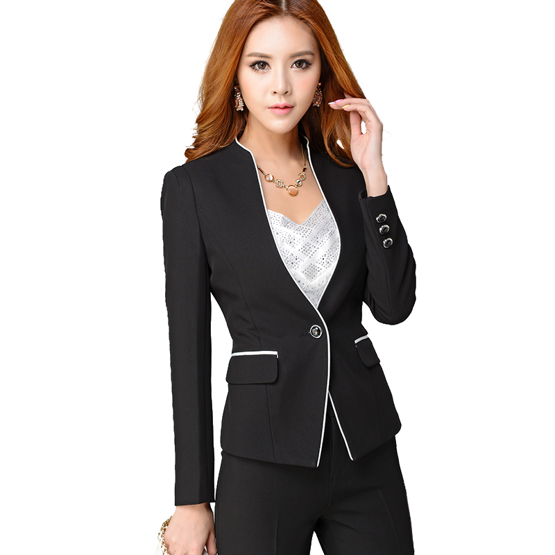 quality women formal set office ladies work wear female pant suits