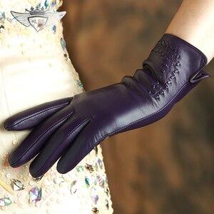 Image 3 - KLSS ブランド本革の女性の高品質ゴートスキン手袋秋冬エレガントなシープスキン手袋女性 2303