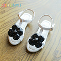 Girls shoes summer New Children sandals kids shoes 2017 Fashion Princess Flower sandals Girl Flat Black white Pink Beach shoes