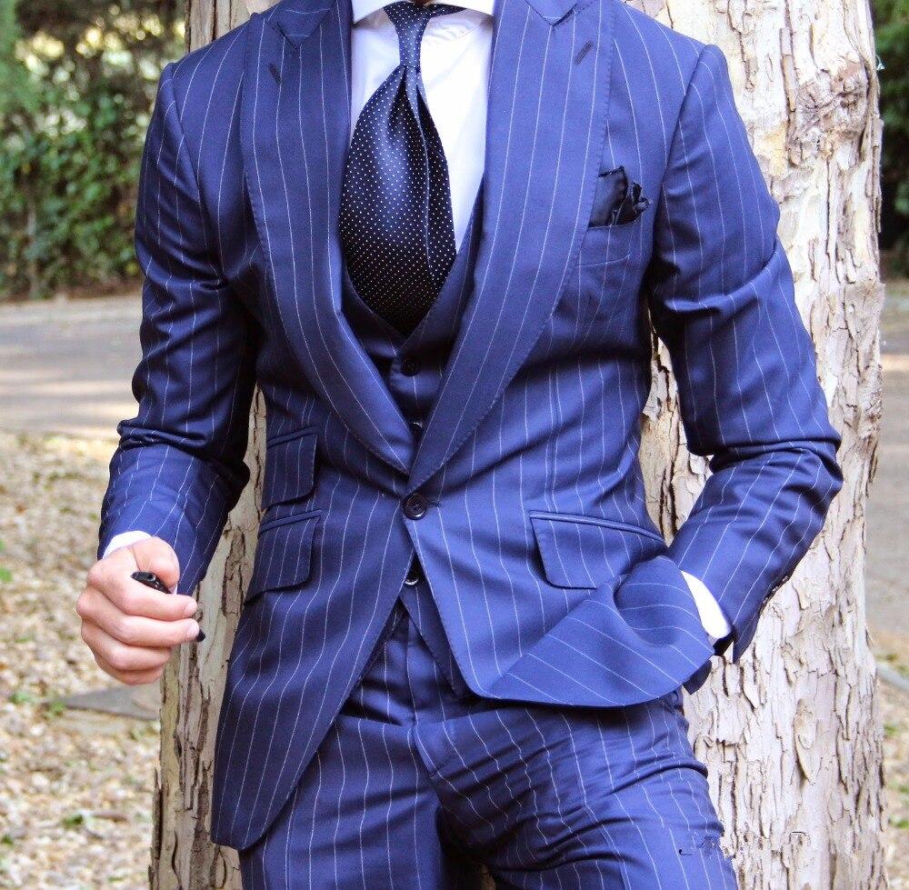 2018 Latest Coat Pant Designs Royal Blue Stripe Custom Tuxedo Skinny Men Suits Stylish 3 Pieces Blazer Terno Jacket Vest Pants