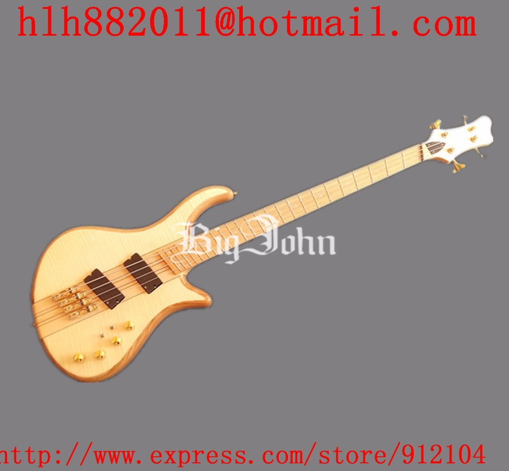 free shipping new Big John 4 strings fanned electric bass guitar in natural with elm body and E pickup F-3414 savarez 510 cantiga series alliance cantiga normal high tension classical guitar strings full set 510arj