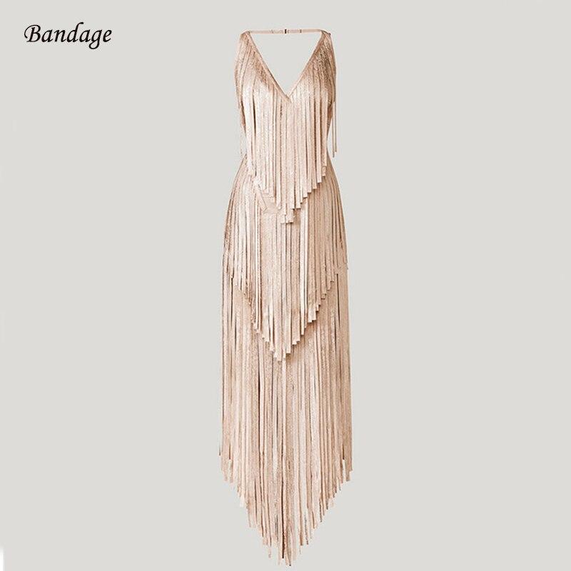 Женское Бандажное платье с кисточками, длинное облегающее платье с глубоким вырезом, без рукавов, для выпускного бала, 2020|Платья|   | АлиЭкспресс