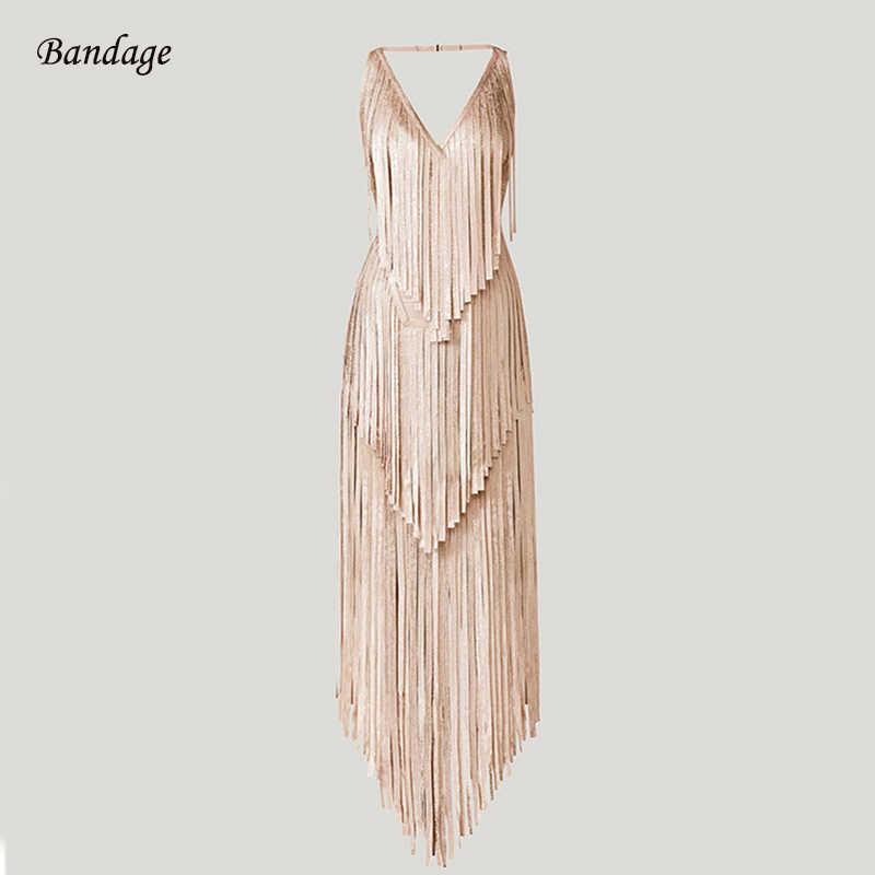 df738be1e31 2018 Новое поступление Бандажное платье с бахромой сексуальное платье макси  Vestido выпускное рождественское праздничное платье женское