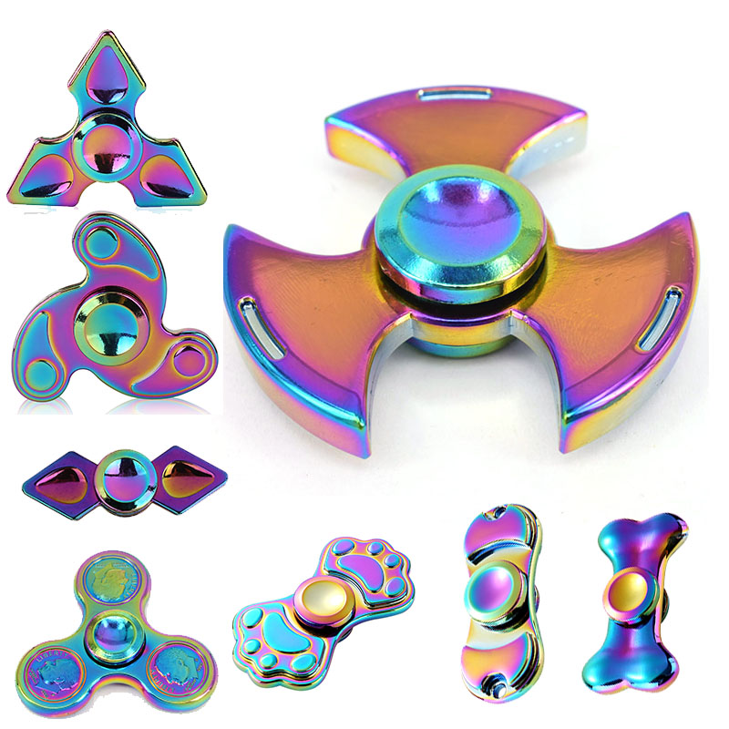 Multi Color Alloy Fidget Tri EDC Hand Spinner Spinner Triangle Gyro Finger spinner Stress Relieve Anxiety