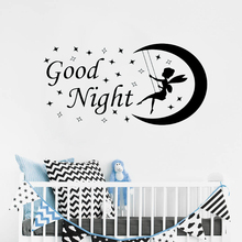 Fairy Wall Decal Moon Stars Good Night Vinyl Sticker Nursery Kids Room Decoration Art Mural Design Decals AY1109