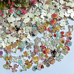 50pcs Natural Wooden Buttons Cute cartoon Animals Shape Decorative Sewing Buttons 2 Holes Scrapbooking for Crafts DIY 20-38mm