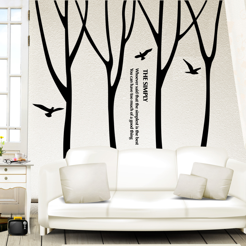 [SHIJUEHEZI] Customized Tree Wall Stickers Handmade Forest Birds Wall Art for Office Home Decor Living Room Quote Wall Decals