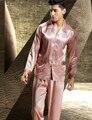 Nuevo 2017 de Los Hombres Pijamas ropa de Noche de La Manga Completa Da Vuelta-Abajo Botón Del Cuello de Seda de la Emulación Pijama Pijama Ocasionales Masculinos Envío Libre 3315