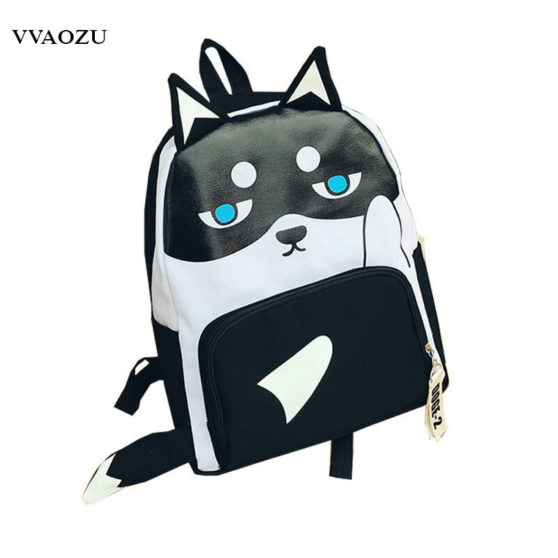 цена на Harajuku Shiba Inu Doge Backpack Canvas Shoulder Bags Teenagers Students Rucksack School Bag Boys Girls Mochila with Tail