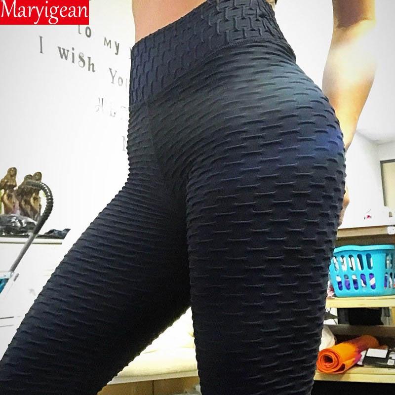 Maryigean Calf Length Anti-Cellulite Leggings Women Scrunch Back Pant Push Up Black Sport Leggings Fitness High Waist Workout