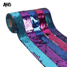AHB 50mm Reversible Sequin Ribbon 2-colors DIY Hair Accessories Wedding Party Holiday Decor Wholesale
