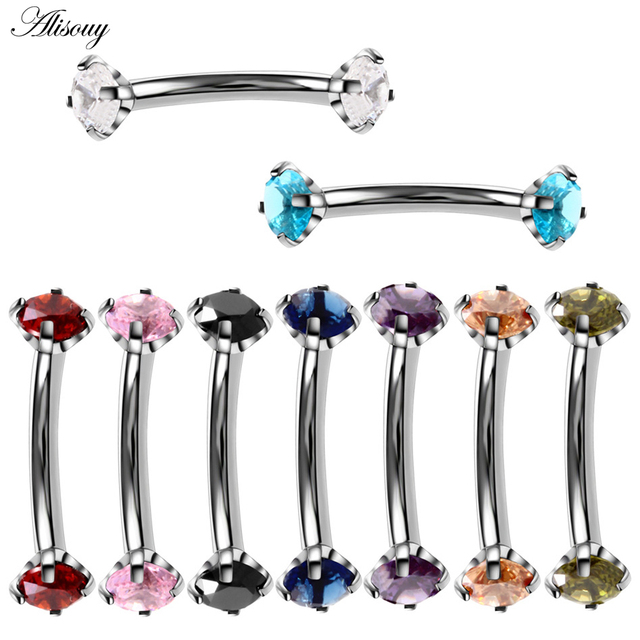 Alisouy 1pc Steel Eyebrow Rings 16G Internally Threaded Earring Tragus Crystal Eyebrow Ring Curved Barbell Piercing 9 Colors 1